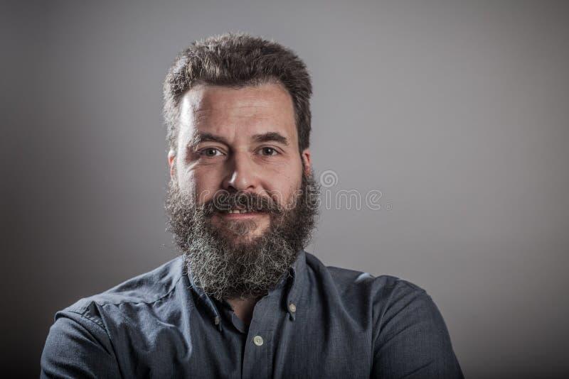 Cara amistosa, retrato enorme de la barba fotografía de archivo