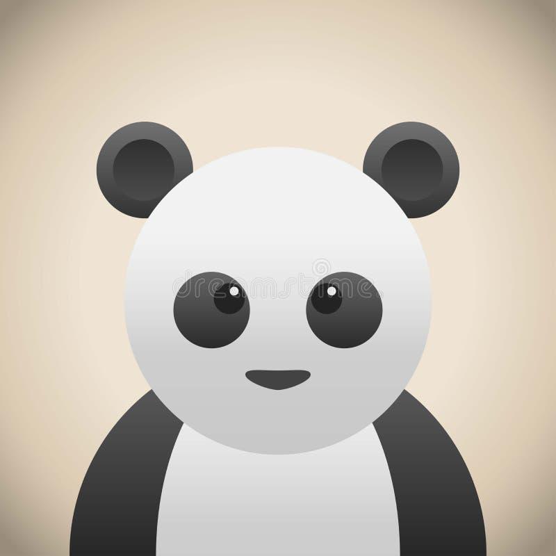Cara animal da garatuja, desenhos animados animais bonitos da panda da cara ilustração do vetor