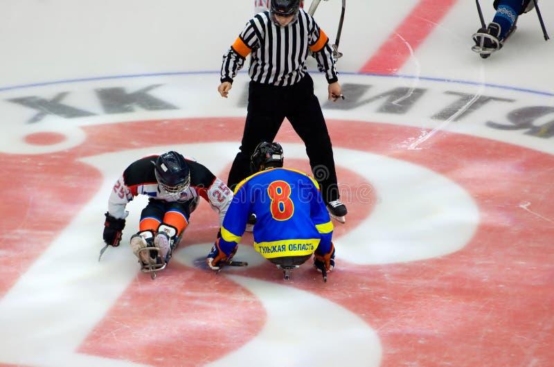 Cara-apagado del hockey del trineo fotos de archivo libres de regalías