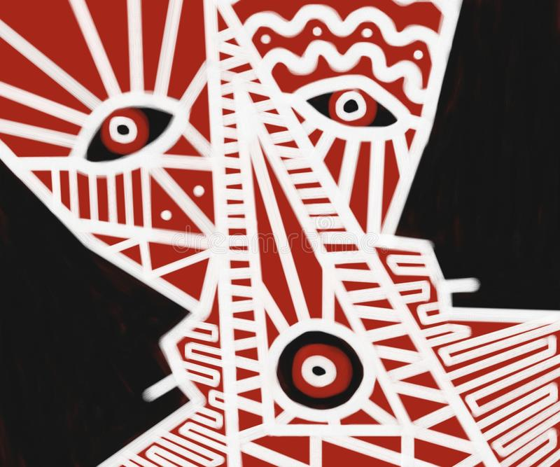 Cara Art Painting tribal abstrato ilustração stock