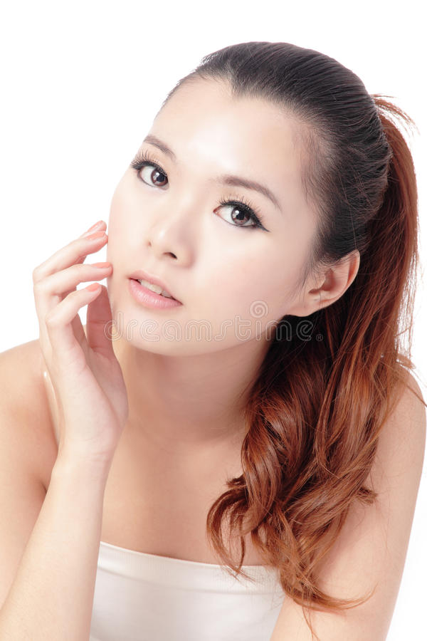 Cara asiática de la mujer del cuidado de piel de la belleza imagen de archivo