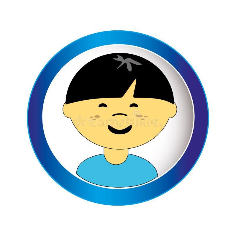 Cara asiática del muchacho con el pelo corto en marco circular libre illustration