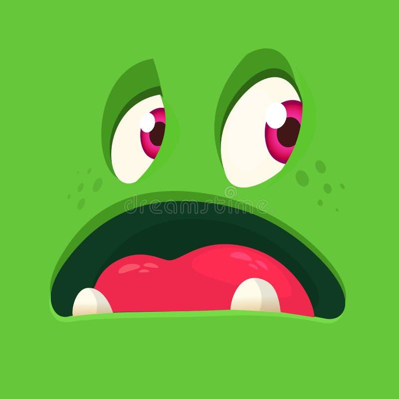 Cara assustador do monstro dos desenhos animados Quadrado do avatar do monstro do zombi do verde de Dia das Bruxas do vetor Proje ilustração royalty free