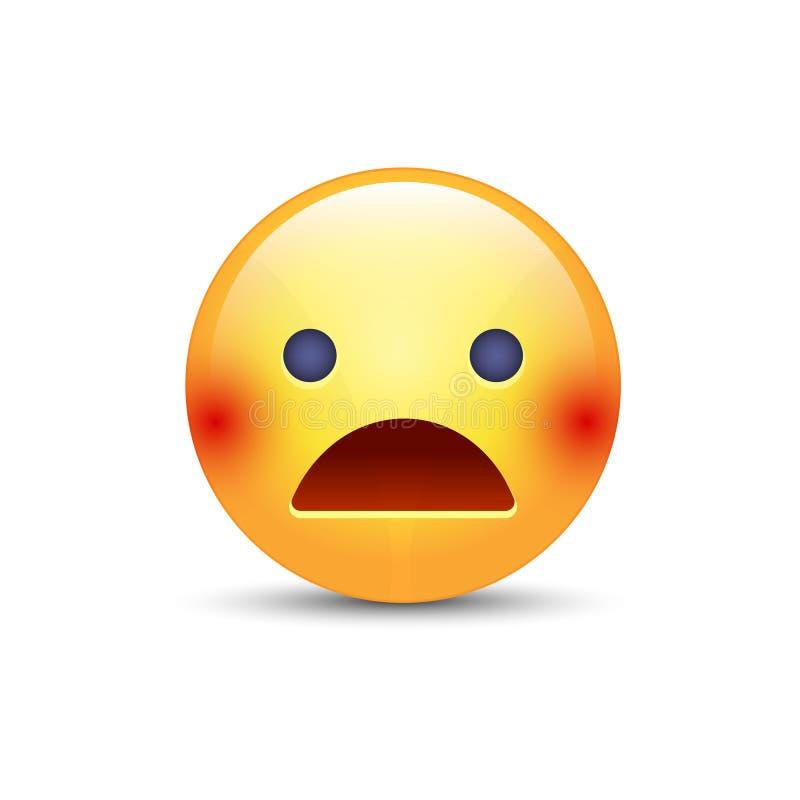 Cara asustada con la boca abierta Humor asustado del emoticon Iconos enrrollados, asustados de la sonrisa para los usos y charla libre illustration
