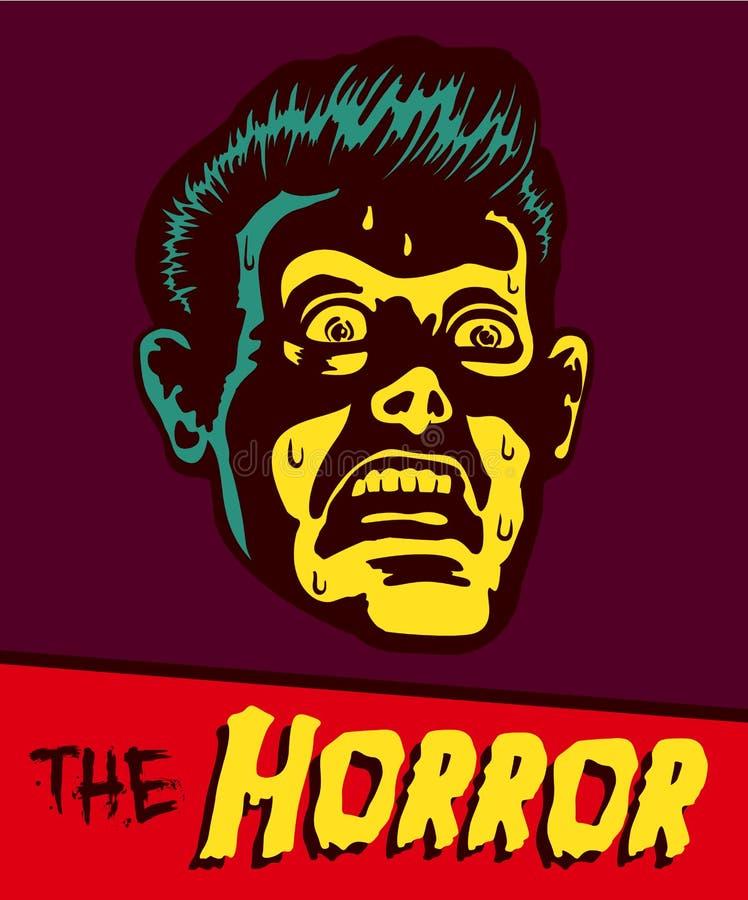Cara aterrorizada del hombre del ejemplo de cómic del vintage ilustración del vector