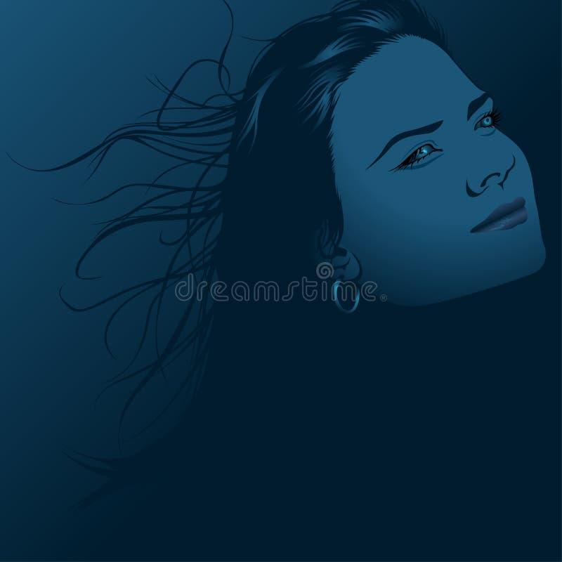 Cara azul ilustración del vector