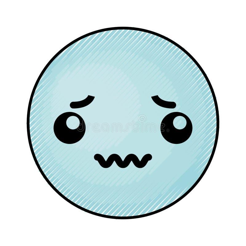 Cara azul linda del emoticon del kawaii ilustración del vector