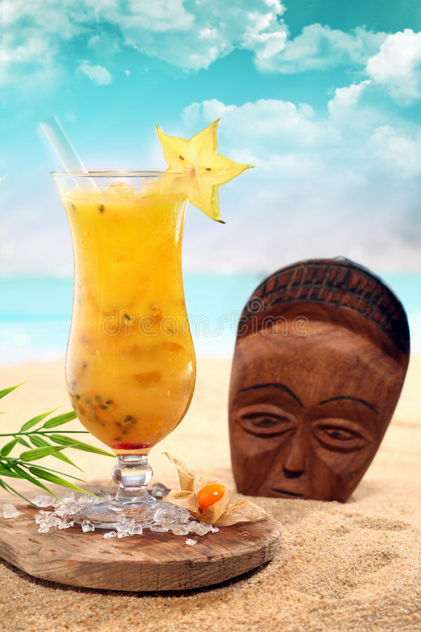 Cara bola cocktail with a wooden mask royalty free stock images