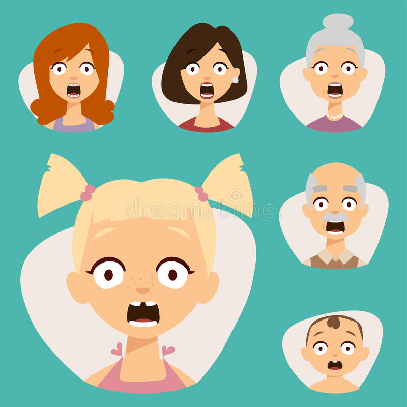 Cara bonita ajustada dos emoticons do vetor da ilustração dos caráteres dos avatars da surpresa de choque do medo dos povos ilustração do vetor