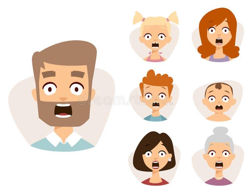 Cara bonita ajustada dos emoticons do vetor da ilustração dos caráteres dos avatars da surpresa de choque do medo dos povos ilustração royalty free