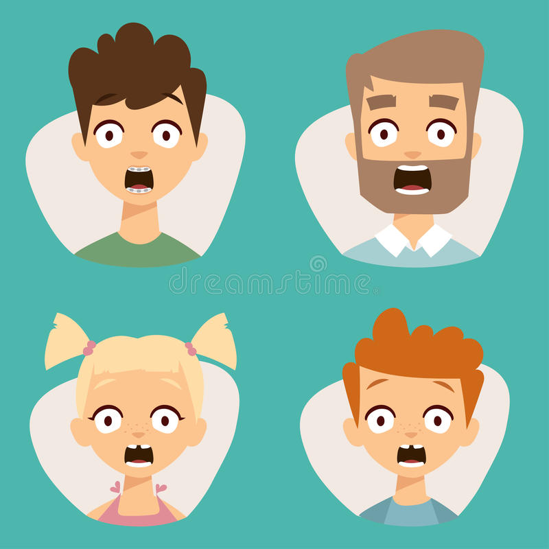 Cara bonita ajustada dos emoticons do vetor da ilustração dos caráteres dos avatars da surpresa de choque do medo dos povos ilustração stock