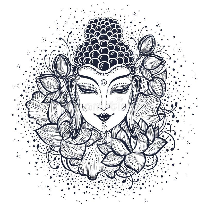 Cara bonita da Buda sobre flowes decorativos alto-detalhados dos lótus Ilustração gráfica do vetor isolada no branco ilustração royalty free