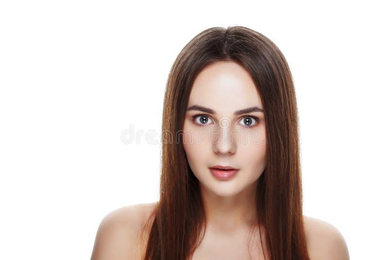 Cara bonita da jovem mulher com pele fresca limpa Retrato wo foto de stock royalty free