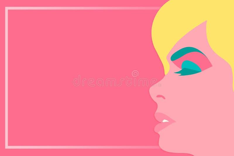 Cara bonita da mulher no fundo cor-de-rosa no estilo do pop art com quadro para o conceito da ilustração do vetor do texto ilustração stock
