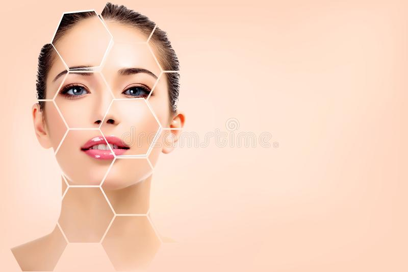 Cara bonita da mulher, tratamento da pele imagens de stock royalty free