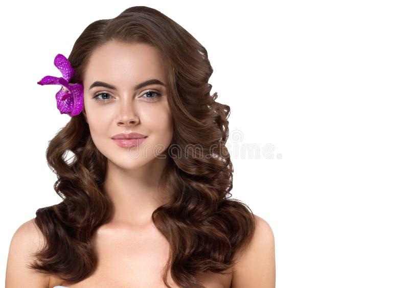 Cara bonita do modelo da jovem mulher com o Hea perfeito fresco limpo foto de stock royalty free
