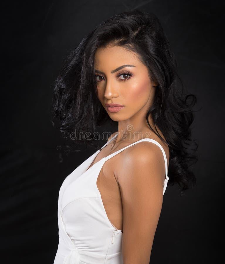 Cara bonita do ` s da mulher com cabelo escuro longo foto de stock