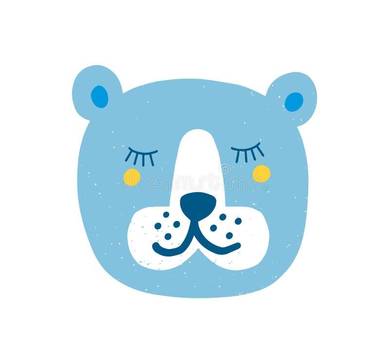 Cara bonita do urso com os olhos fechados isolados no fundo branco Cabe?a do animal bonito da floresta do sono Focinho de bonito ilustração royalty free