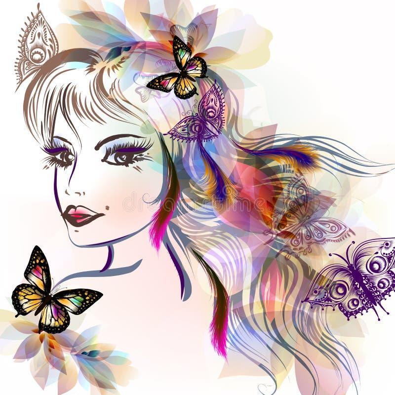 Cara bonito das meninas com estilo longo do esboço do cabelo ilustração do vetor