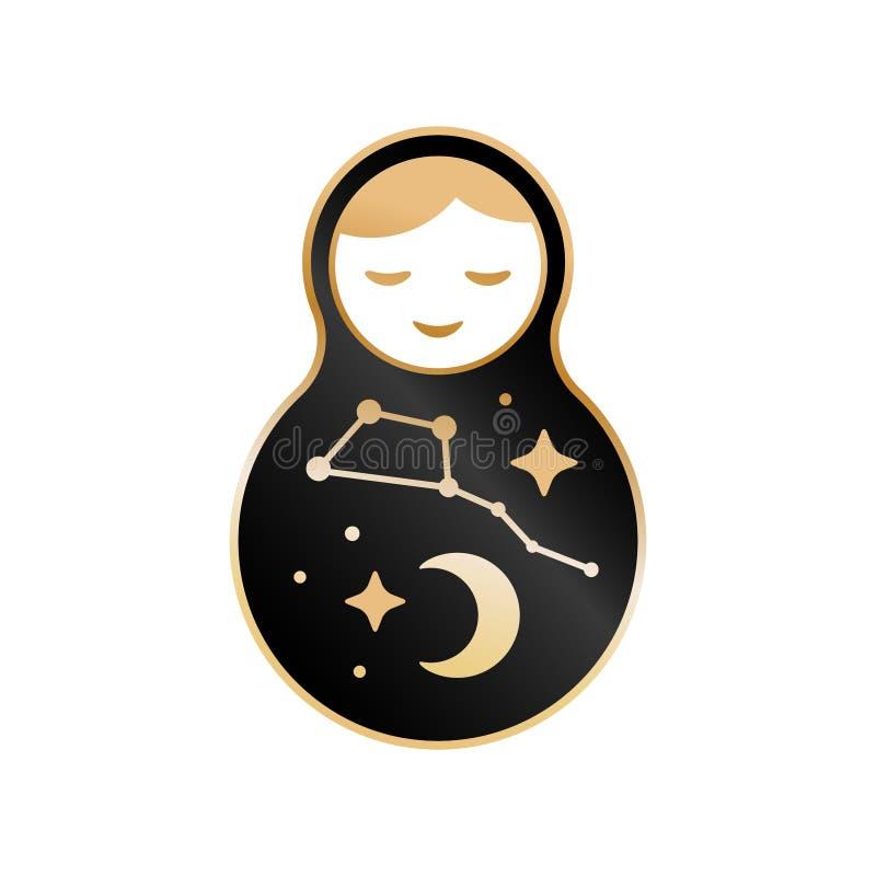 Cara bonito de sorriso de Babushka Kawaii do matrioshka da boneca do russo, estrelas, lua, constelação Ursa Major o grande urso,  ilustração royalty free