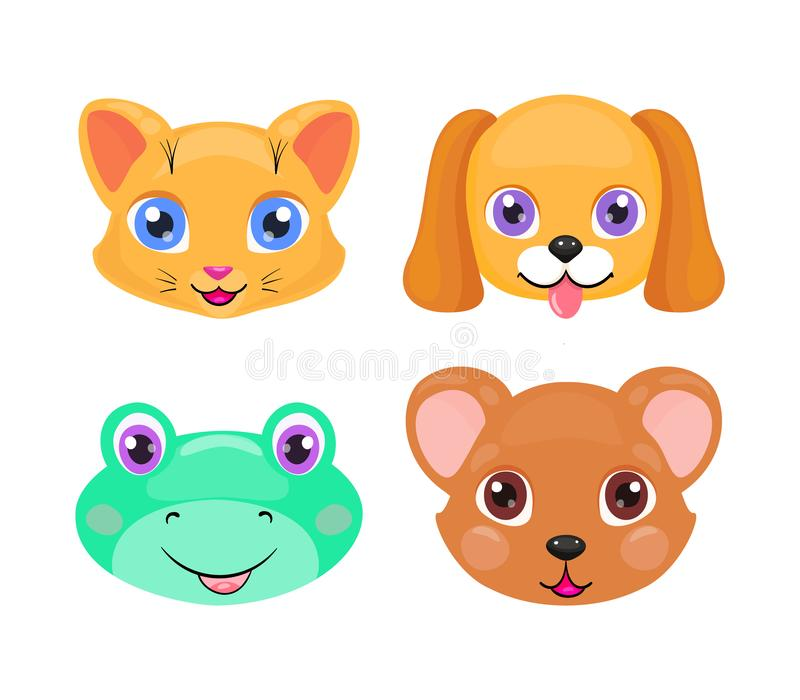 Cara bonito do gato, do cão, da rã e do urso ou grupo da máscara isolada no fundo branco ilustração stock