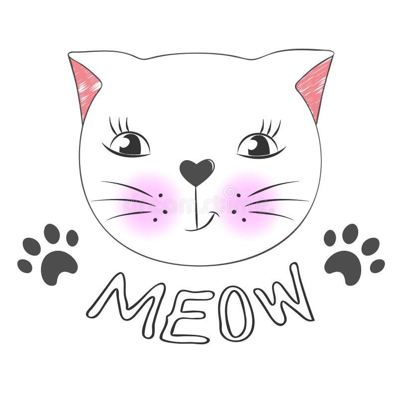 Cara bonito do gato dos desenhos animados e miado da inscrição ilustração royalty free