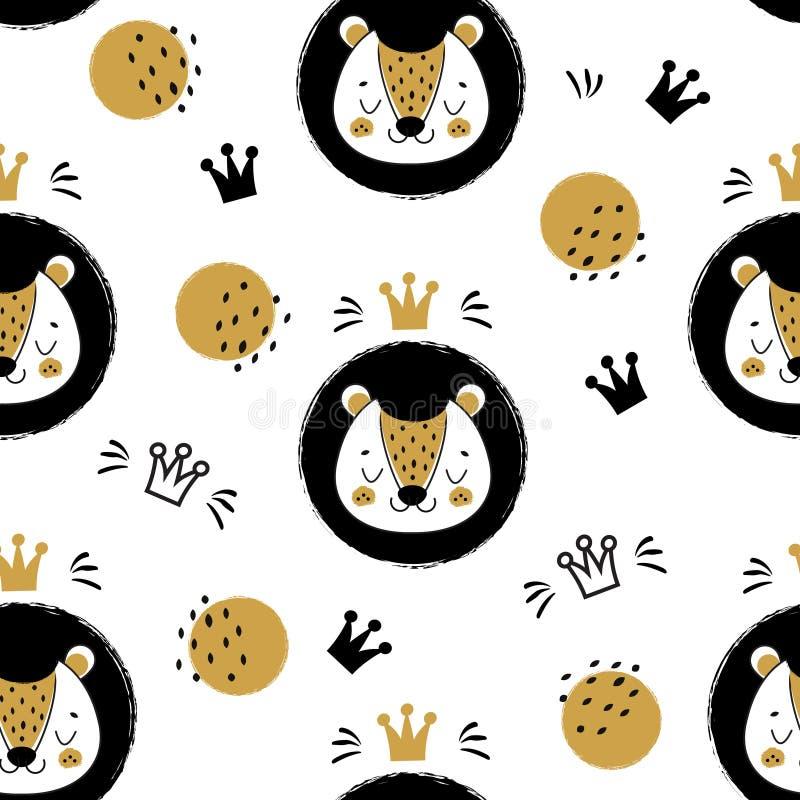Cara bonito e coroas do leão Teste padrão sem emenda, fundo com o animal dos desenhos animados no estilo escandinavo ilustração stock