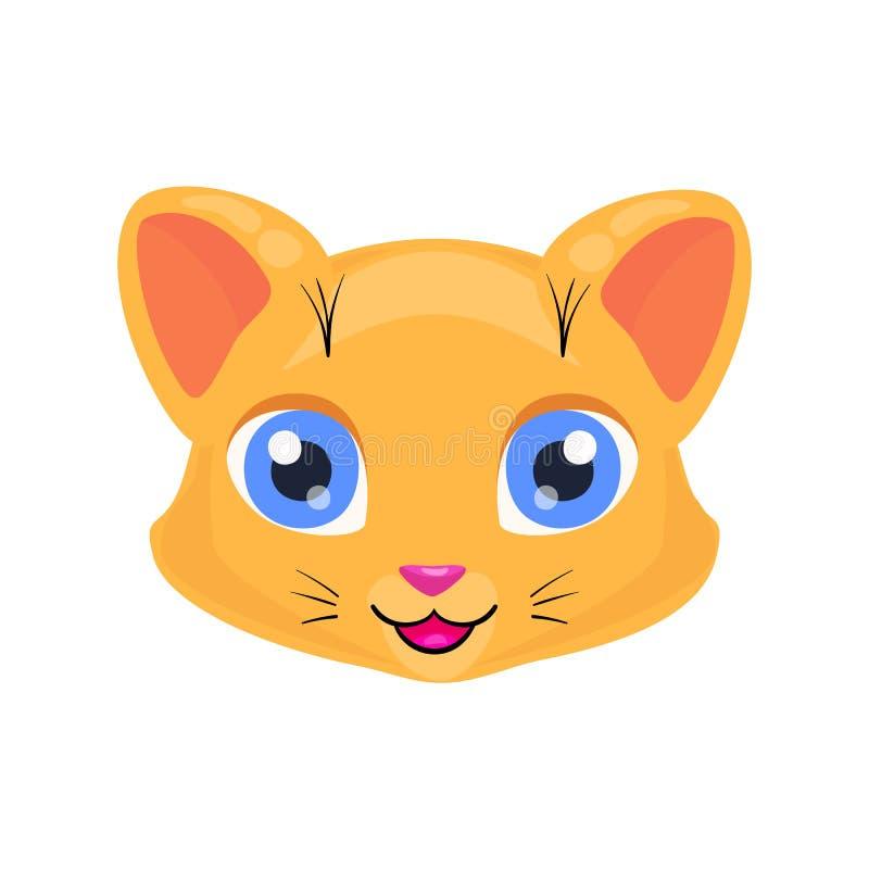 Cara bonito ou máscara do gato isolada no fundo branco Vaquinha dos desenhos animados com olhos brilhantes, sorriso e tipo ilustração do vetor