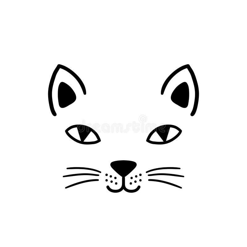 Cara bonito tirada mão do gato O esboço isolou a ilustração dos desenhos animados para a cópia, t-shirt, matéria têxtil, cartaz,  ilustração do vetor