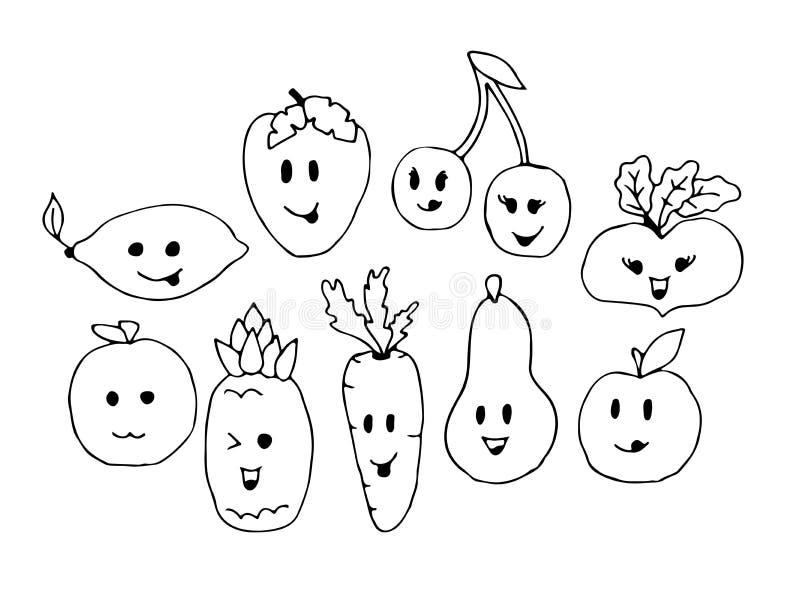 Cara bonito vegetal dos caráteres dos desenhos animados isolada na ilustração branca do vetor do fundo Ícone vegetal engraçado da ilustração royalty free