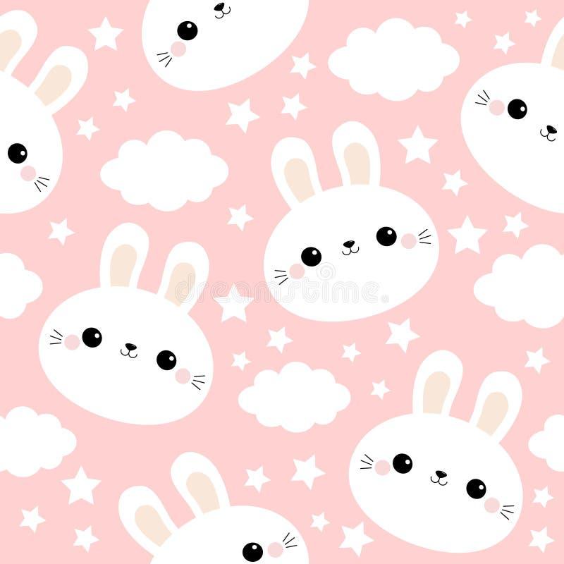 Cara branca do coelho do coelho Teste padrão sem emenda Nuvem no céu Caráter de sorriso engraçado do bebê do kawaii bonito dos de ilustração do vetor
