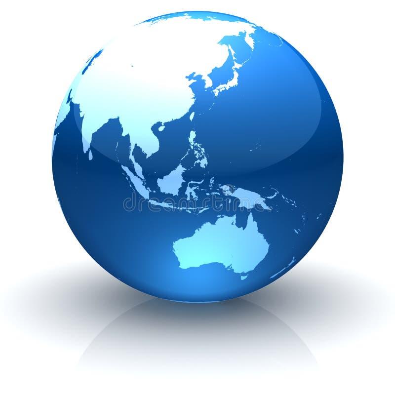 Cara brillante Asia, Oceanía y Australia del globo stock de ilustración