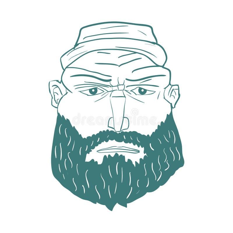 Cara brutal do homem dos desenhos animados com barba Vetor ilustração stock