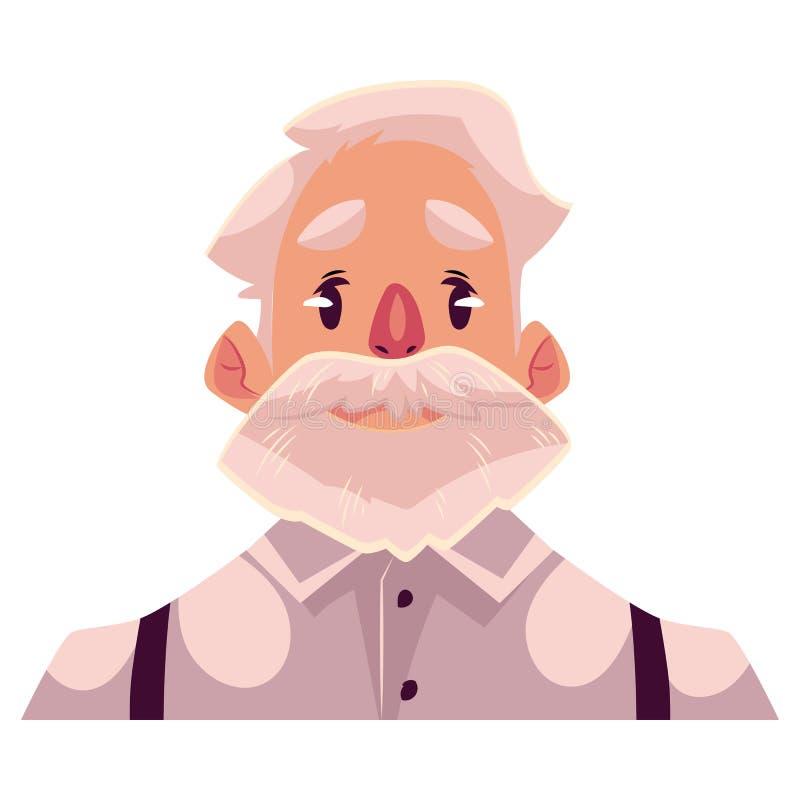 Cara cabelluda gris del viejo hombre, expresión facial neutral ilustración del vector