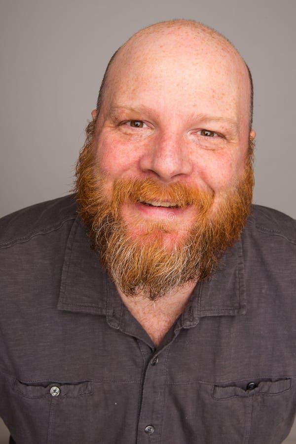 Cara calva amigável da barba imagens de stock royalty free