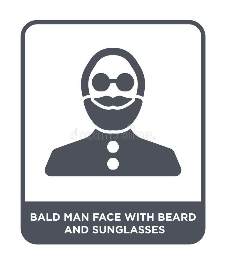 cara calva del hombre con el icono de la barba y de las gafas de sol en estilo de moda del diseño cara calva del hombre con el ic ilustración del vector
