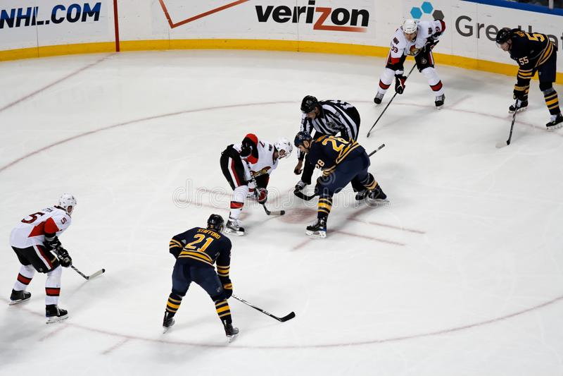 Cara a cara del hockey sobre hielo del NHL imágenes de archivo libres de regalías