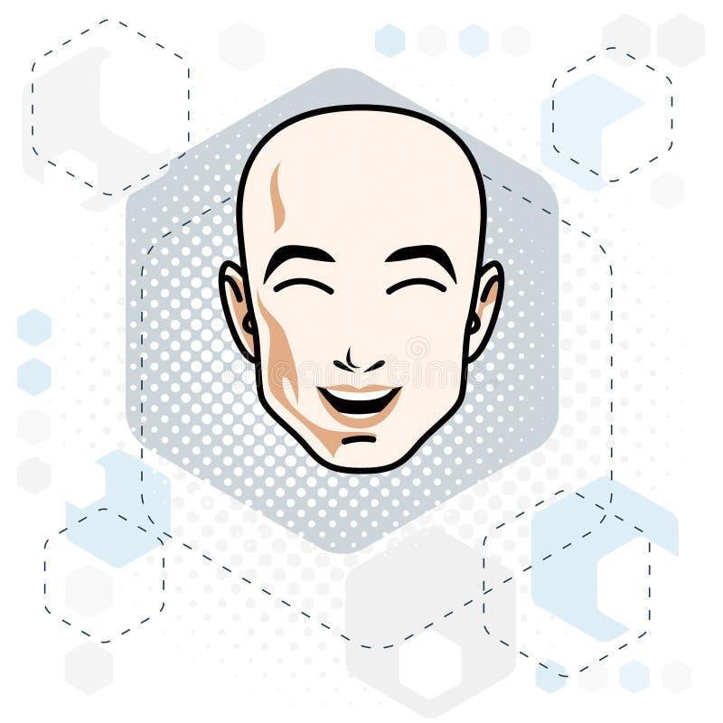 A cara caucasiano do homem que expressa emoções positivas, vector a ilustração da cabeça humana ilustração royalty free
