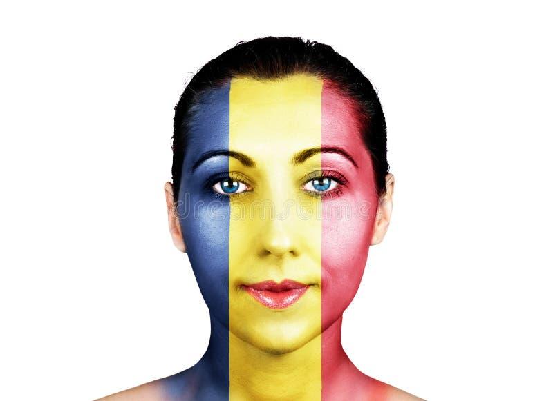 Cara com a bandeira de Romênia fotos de stock royalty free