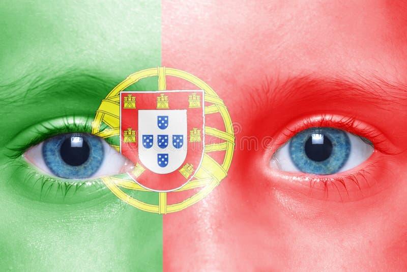 cara com bandeira portuguesa imagens de stock royalty free