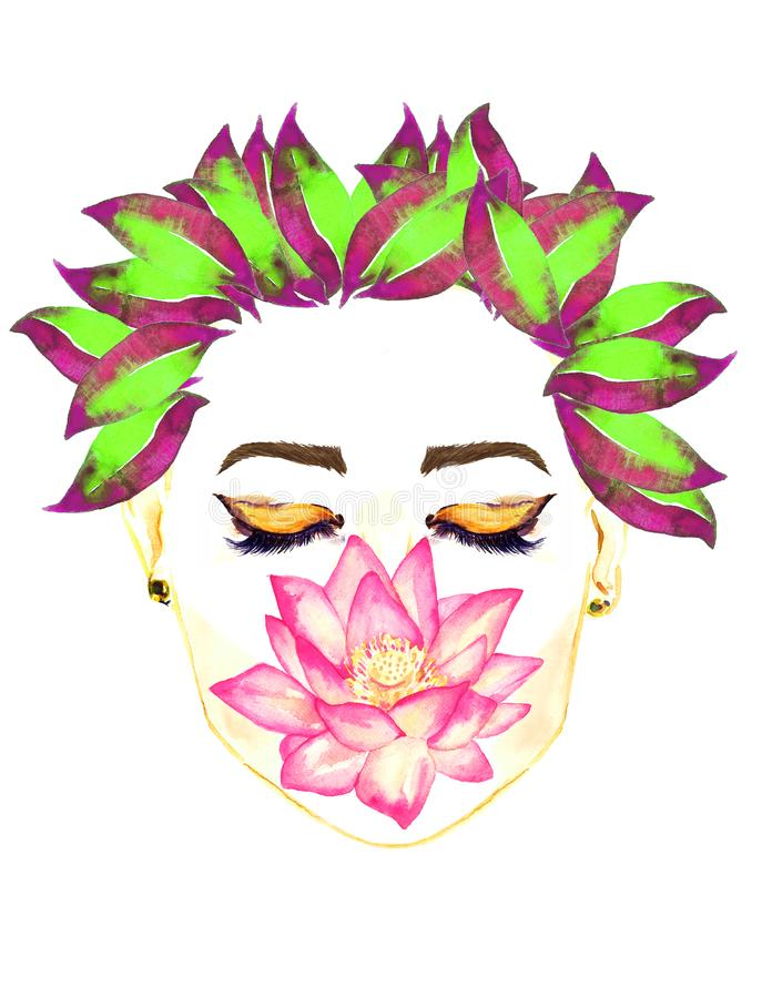Cara com os olhos fechados com composição dourada, a flor de lótus cor-de-rosa que guardam pelos bordos, penteado roxo e verde fl ilustração royalty free