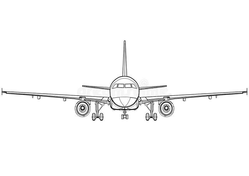 Cara completa do desenho preto e branco linear dos aviões, vista dianteira plana, ícone do avião, esboço do esboço, silhueta da m ilustração royalty free