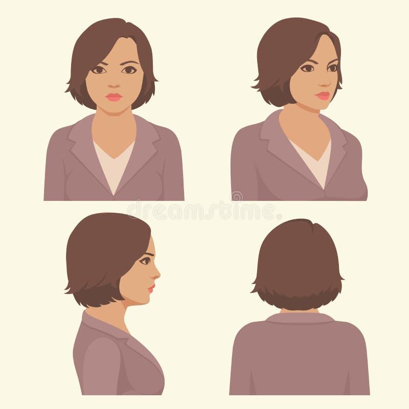 Cara completa e cabeça do perfil ilustração royalty free