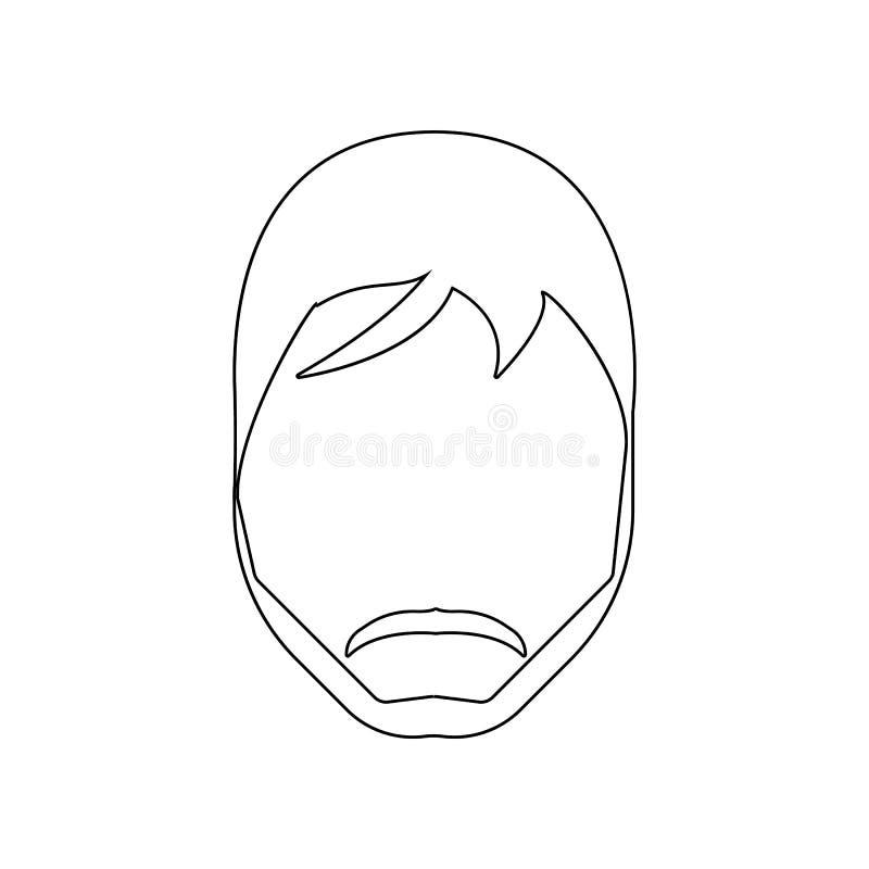 cara con el icono de la barba Elemento del peluquero para el concepto y el icono m?viles de los apps de la web Esquema, l?nea fin ilustración del vector