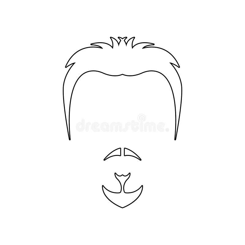 cara con el icono de la barba Elemento del peluquero para el concepto y el icono m?viles de los apps de la web Esquema, l?nea fin libre illustration