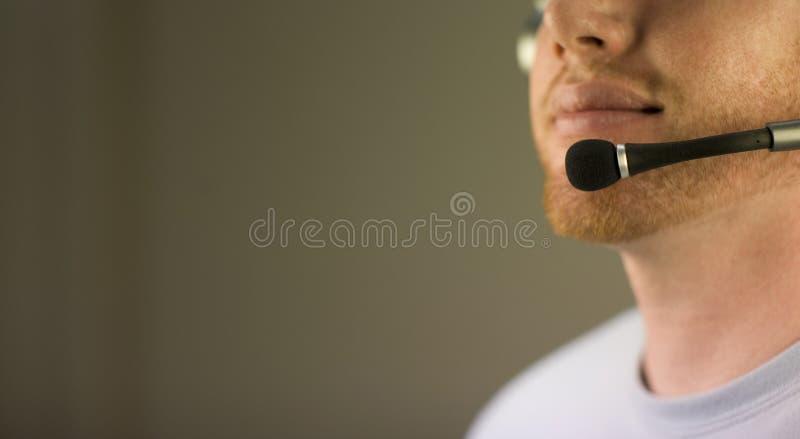 Cara con el receptor de cabeza foto de archivo