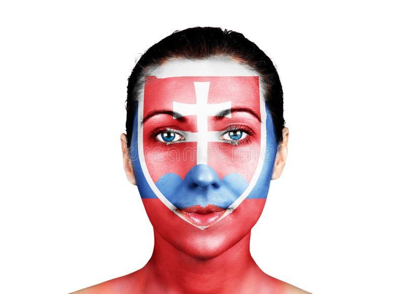 Cara con la bandera de Eslovaquia imagen de archivo