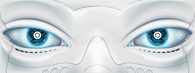Cara con los ojos el robot Máquina futurista Illus común stock de ilustración