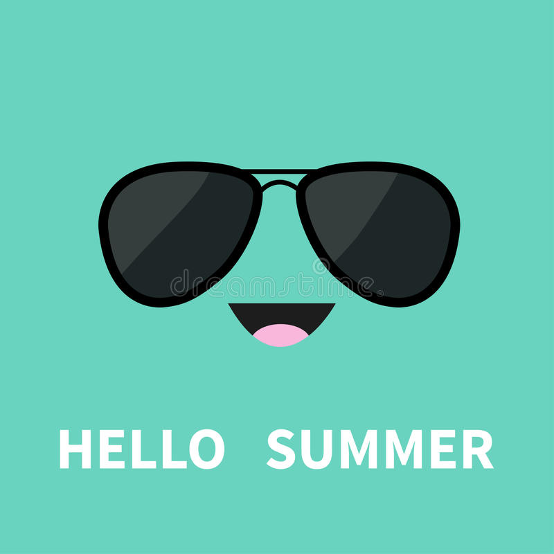 Cara con los sunglassess experimentales negros Emoción feliz Carácter sonriente divertido de la historieta linda Hola verano Fond libre illustration