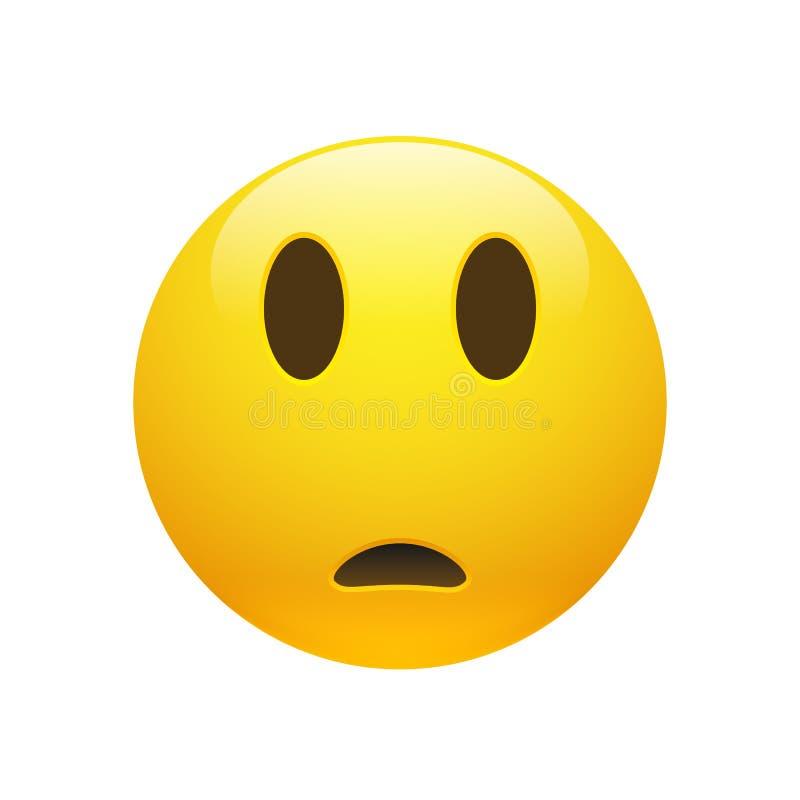 Cara confusa triste amarela de Emoji do vetor ilustração royalty free